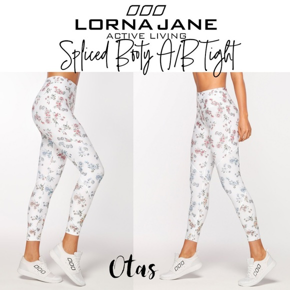 36447bb67d616 Lorna Jane Pants | White Floral Spliced Booty Ab Tight | Poshmark